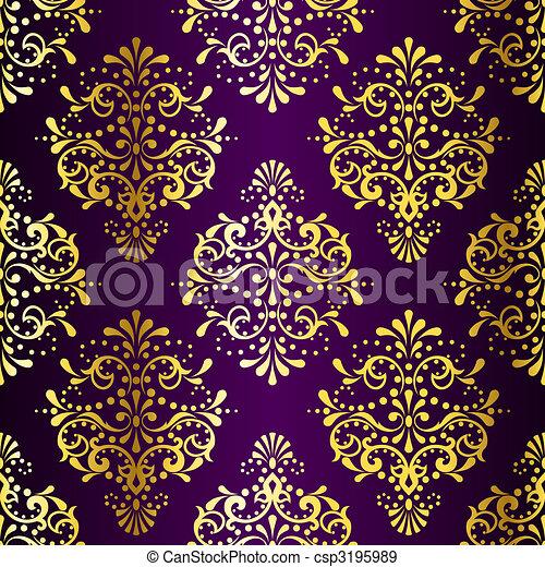 Intricate Gold on Purple seamless sari pattern - csp3195989