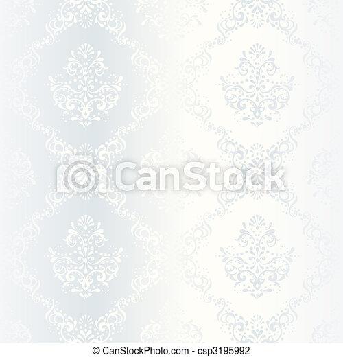 Intricate white satin wedding pattern - csp3195992