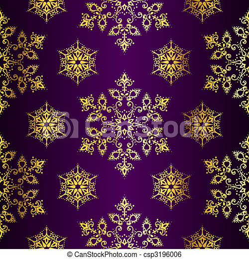 Purple and Gold seamless Christmas background - csp3196006