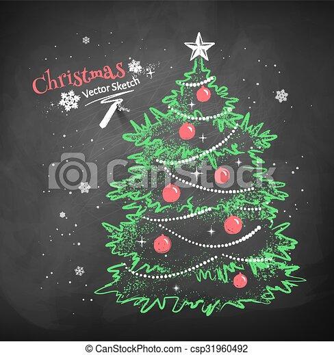 黒, 木, 黒板, 背景, クリスマス - 色, チョーク, ベクトル, スケッチ, の, クリスマス, 木 ...