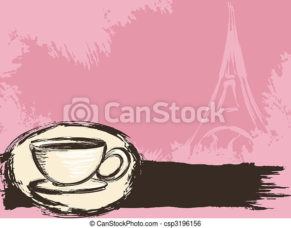 Grungy French coffee background - csp3196156