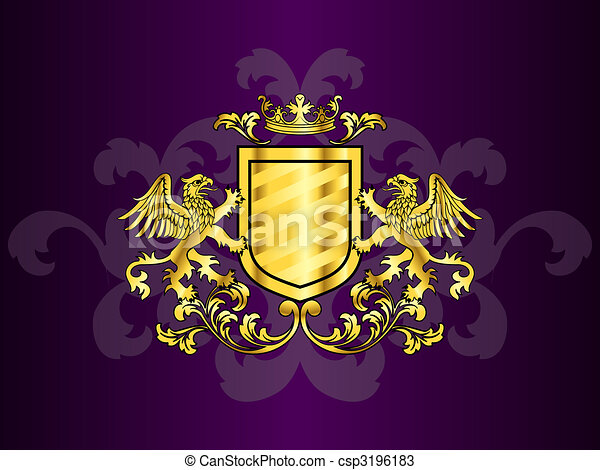 Golden Coat of Arms with Griffins - csp3196183