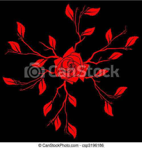Clip Art Vector Of Lacquer Tile With A Rose Design