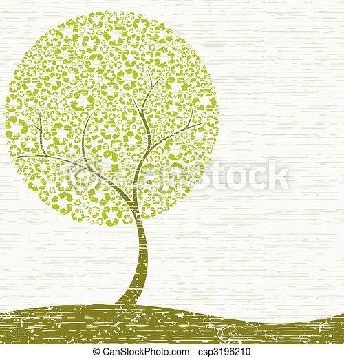 grungy, recyclage, arbre, concept - csp3196210