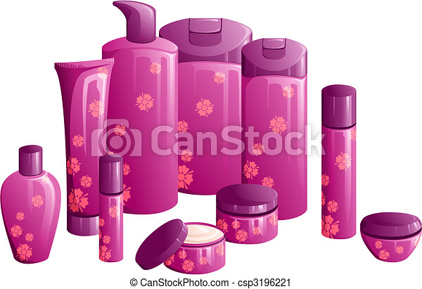 Line of beauty products, with a purple flower design - csp3196221