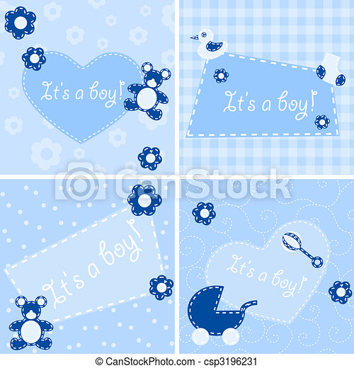 Quilted birth announcement cards for a boy - csp3196231