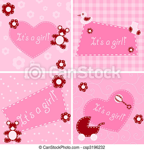 Quilted birth announcement cards for a girl - csp3196232