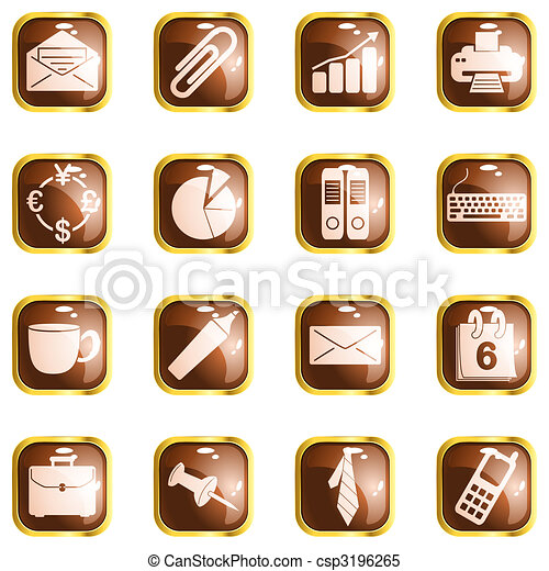 Square brown high gloss office buttons - csp3196265