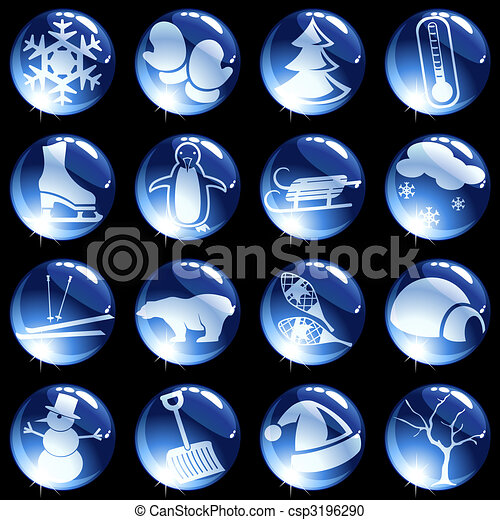 Sixteen high gloss winter themed buttons - csp3196290