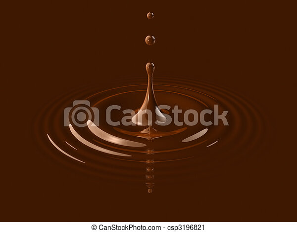 drop of liquid chocolate and ripple - csp3196821