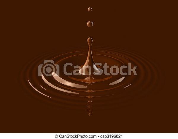 drop of liquid chocolate and ripple - csp3196821