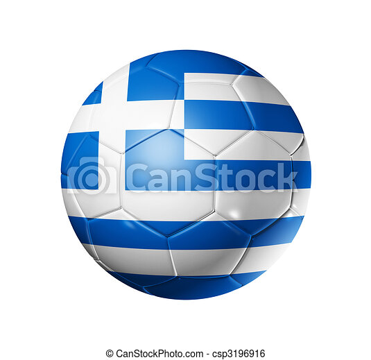 Soccer football ball with Greece flag - csp3196916
