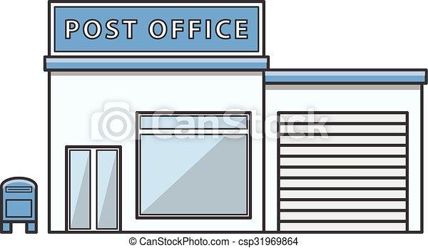 Clip Art Vector Of Post Office Illustration Cartoon