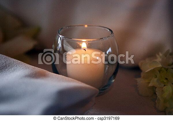 spa tritment candle, elegant decoration, burning flame - csp3197169