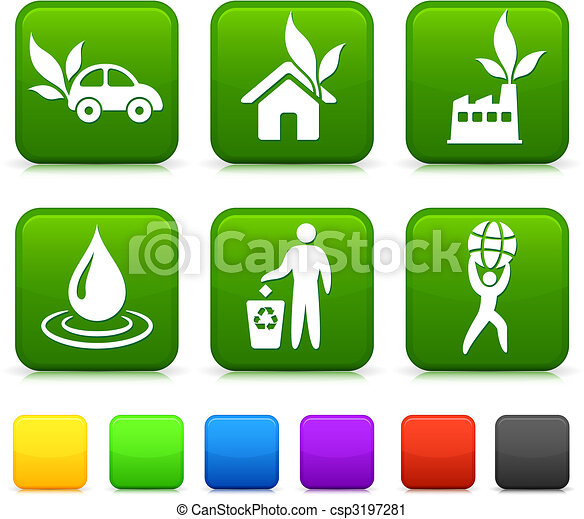 Nature Environment icons on square internet buttons - csp3197281