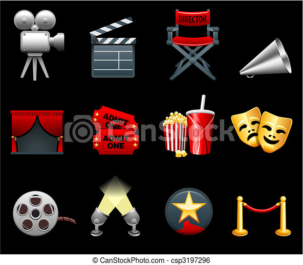 Film and movies industry icon collection - csp3197296