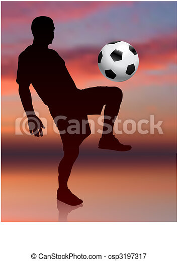 Soccer Player on Evening Background - csp3197317