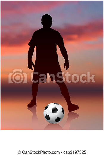 Soccer Player on Evening Background - csp3197325