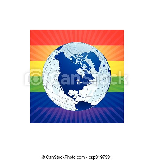 Globe with rainbow background for gay rights - csp3197331