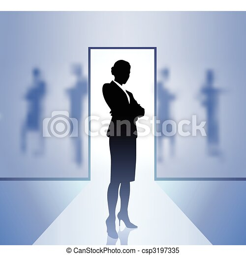 Businesswoman executive in focus on blurry background - csp3197335