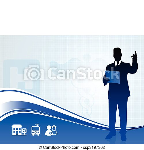 Public speaker silhouette on medical report background - csp3197362