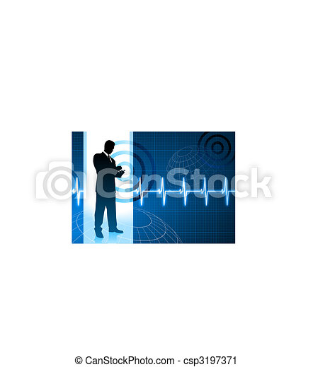 business people on pulse background - csp3197371