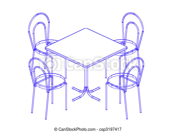 Stock Illustrations Of Dining Table And Chairs The
