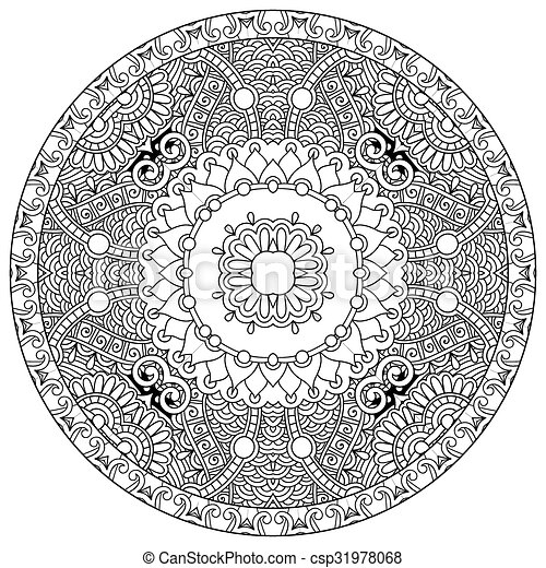 coloring book page for adults - zendala, joy to older children - csp31978068