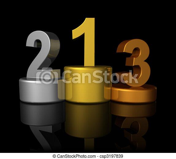 3D winners number podium - csp3197839