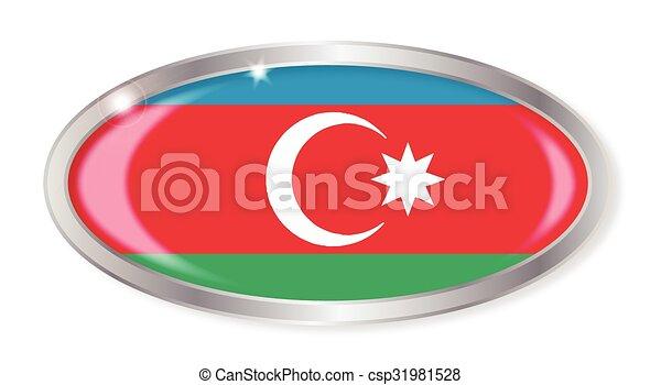 Azerbaijan Flag Oval Button - csp31981528