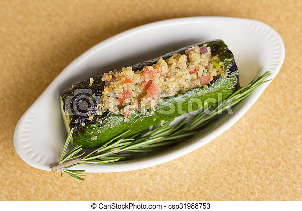Stock Images of Quinoa Stuffed Zucchini - Grilled quinoa salad stuffed ...