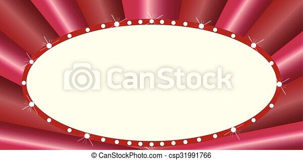 Clip Art Vector of Oval Cinema Style Marquee - A blank oval cinema ...