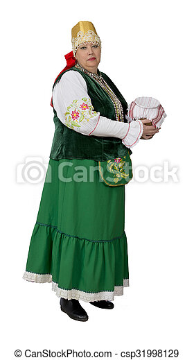 Woman in national historical Russian costume - csp31998129
