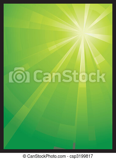Green vertical asymmetric light burst - csp3199817