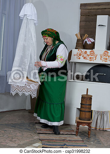 Woman in national historical Russian costume - csp31998232