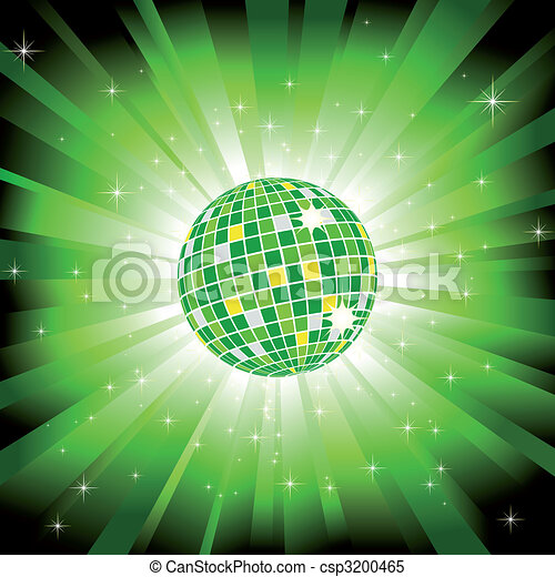 Sparkling disco ball on green light burst and glitter stars - csp3200465