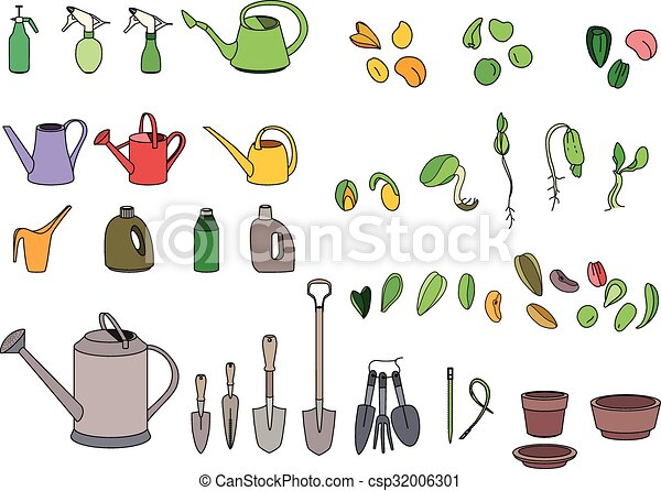 Vector Clipart of Set with seeds garden tools and equipment For