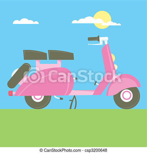 Sweet Scooter vector illustration cartoon motorcycle - csp3200648
