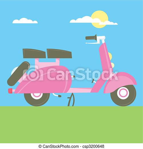Sweet Scooter vector illustration cartoon motorcycle - csp3200648