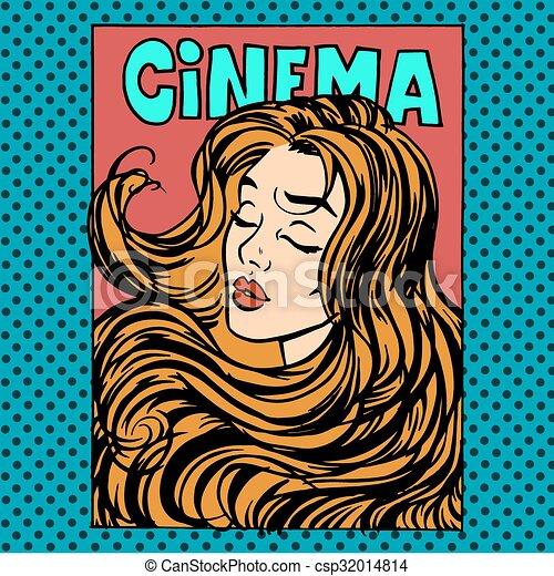 Vector Clip Art of Movie poster woman actress heroine ...