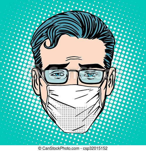 Clipart Vector of Retro Emoji sore virus infection medical mask ...