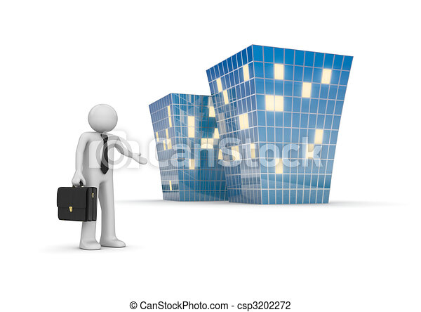 Businessman invites to new office building - csp3202272