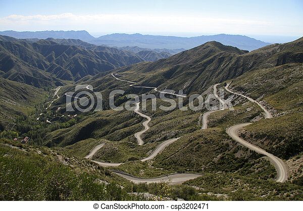Hairpin bends in the Andes - csp3202471