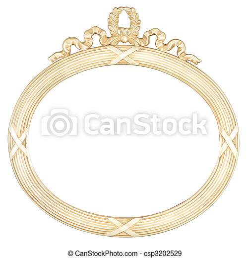 isolated oval mirror frame - csp3202529