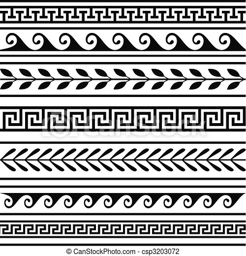 Set of geometric greek borders - csp3203072