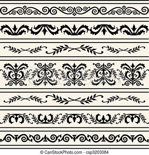 Set of floral vector borders - csp3203084