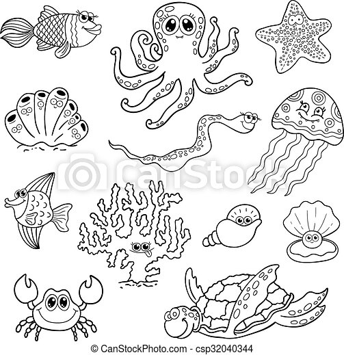 EPS Vector of Set of marine life. Ocean fauna, underwater ... Underwater Clipart Black And White
