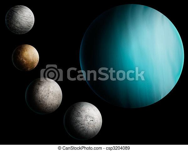 a digital painting of the planet Uranus - csp3204089