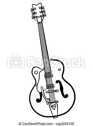 Electric Guitar line art illustration - csp3204105