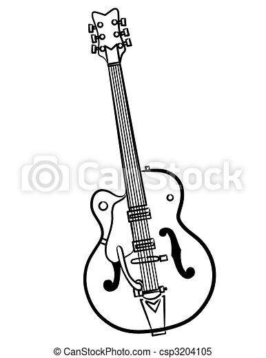 Electric Guitar line art illustration - csp3204105
